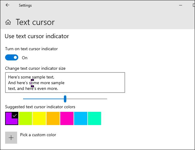 تخصيص مؤشر مؤشر النص الخاص بك على نظام التشغيل Windows 10.