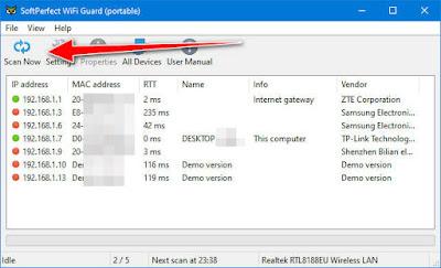 SoftPerfect WiFi Guard : برنامج مراقبة الشبكة ومعرفة الاجهزة المتصلة بالراوتر