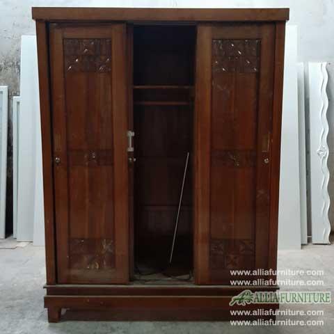 lemari minimalis kayu jati 3 pintu sliding ukir