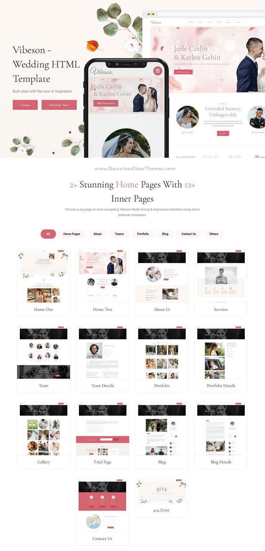 Vibeson - Elegant Wedding Love & Event Planner Photography HTML Template