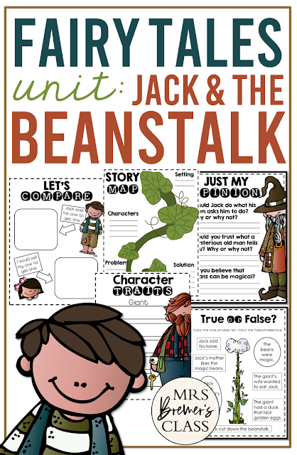 Jack and the Beanstalk Fairy Tales unit with Common Core aligned literacy activities for First Grade and Second Grade