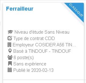 Ferrailleur Employeur  COSIDER A56 TINDOUF