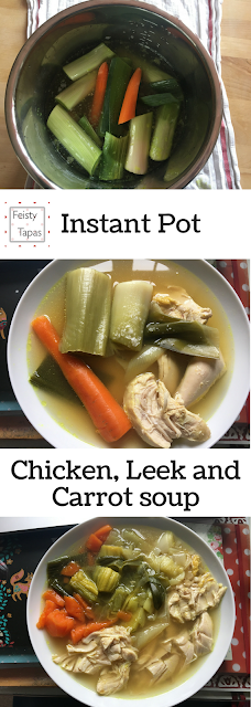Instant Pot Chicken, Leek and Carrot soup - a delicious soup that is low carb and super easy with homemade, pressure cooked chicken stock
