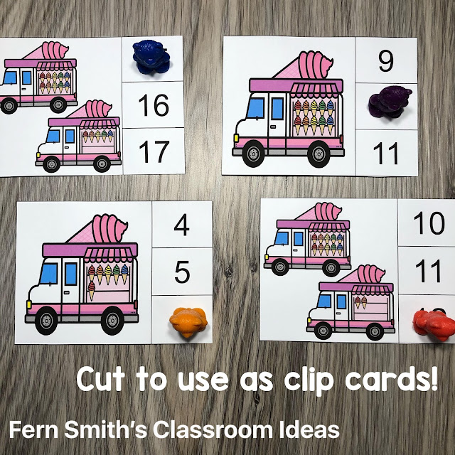 Click Here for the May Ice Cream Truck Counting Clip Cards #FernSmithsClassroomIdeas