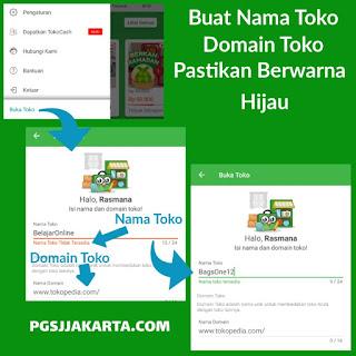 Tahap Isi Data Nama Toko dan Domain Toko Online Tokopedia