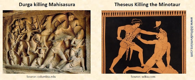 The iconography of Durga killing Mahisasura resembles that of Theseus slaying the Cretan Minotaur
