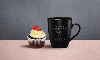 Dark Coffee Mug PSD