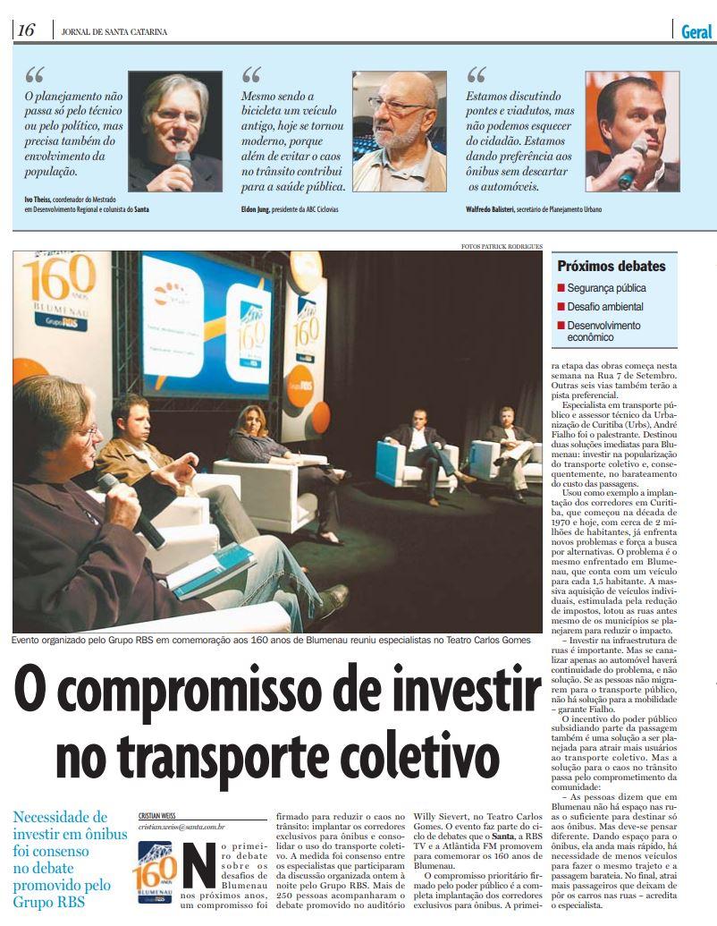 Debate RBS 160 anos Blumenau mobilidade urbana discute transporte coletivo no Teatro Carlos Gomes, Cristian Weiss, Cristian Edel Weiss, Jornal de Santa Catarina, RBS, NSC Comunicação