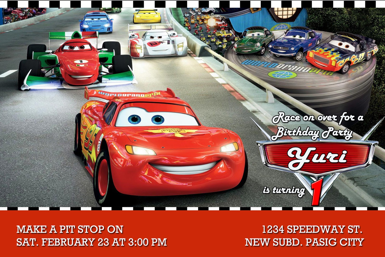 Moms Kiddie Party Link: Disney Cars Party Invitation