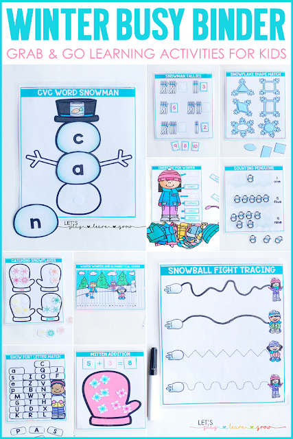 Winter themed activity binder for preschool and kindergarten that works on skills like letter matching, shape matching, color sorting, ABC order, tally marks, counting and number identification, addition, prewriting, labeling, and spelling cvc words.
