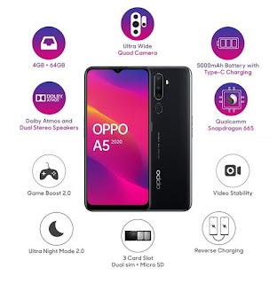 OPPO A5 2020 (Mirror Black, 3GB RAM, 64GB Storage)