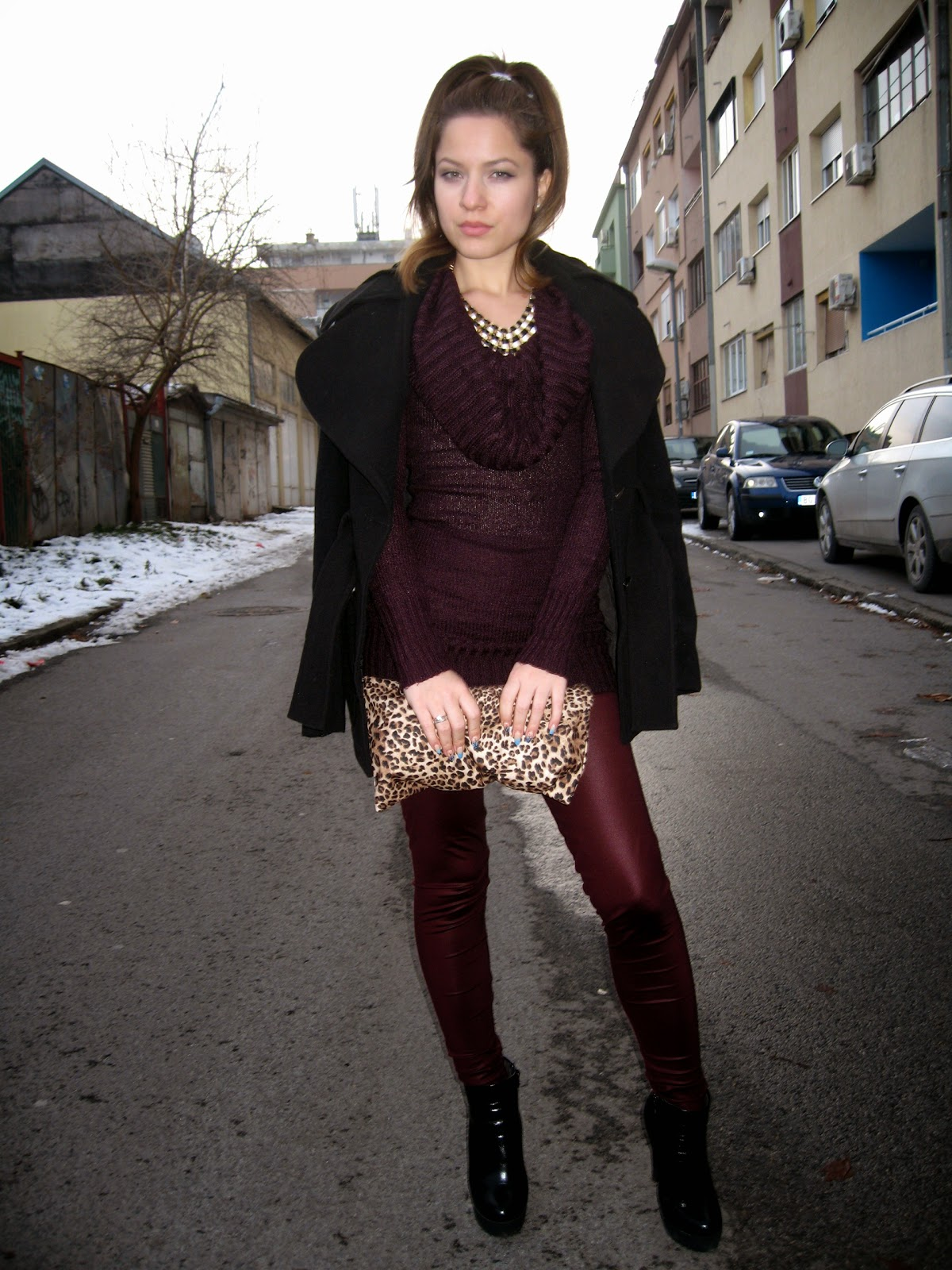 outfit, burgundy leggings, burgundy sweater, black coat, black boots, leopard print clutch bag, statement necklace, bornprettystore.com statement necklace, high ponytail