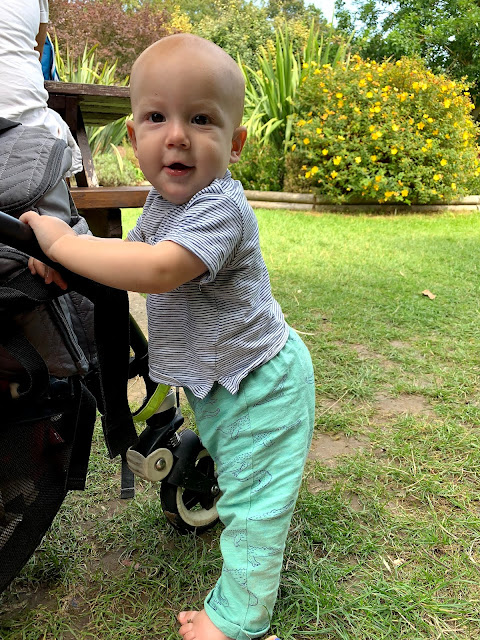 Baby Boy standing up while holding on to the edge of a pushchair