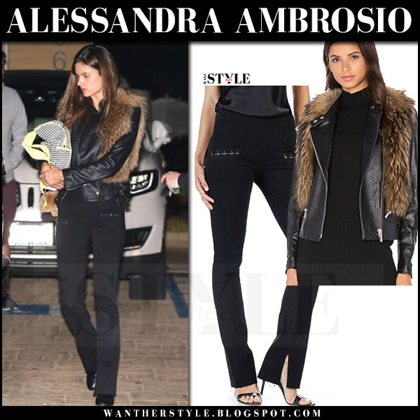 Alessandra Ambrosio in black leather jacket nour hammour and black jeans paige rosie hw shiloh what she wore streetstyle