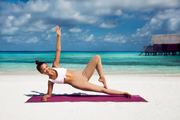 yoga mat on the beach