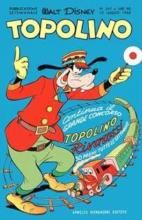 Topolino 241 - 10 Luglio 1960   ISSN 1120-611X   CBR 215 dpi   Settimanale   Fumetti   Universo Disney Numero volumi : IN CORSO Topolino apparve in Italia il 30 marzo 1930, quando sul n.13 del settimanale torinese Illustrazione del Popolo, diretto da Lorenzo Gigli, fu pubblicata la prima striscia disegnata da Ub Iwerks e intitolata Le avventure di Topolino nella giungla. Due anni dopo si ha il primo libro illustrato italiano con le sue immagini: Sua Altezza Reale il Principe Codarello e, poco più tardi, il 31 dicembre 1932, esce il primo numero di Topolino in formato giornale, edito da Nerbini. Sulla falsariga del celebre Corriere dei Piccoli, anche Topolino si presentava ai lettori con periodicità settimanale e si apriva con una breve storia in cui le didascalie sono scritte in rima e realizzata da Giove Toppi, che divenne quindi il primo autore Disney italiano. Sul settimanale della Nerbini, comunque, trovano spazio soprattutto le strisce e le tavole realizzate da Floyd Gottfredson. In queste storie vengono anche introdotte delle didascalie in rima, scritte dal primo direttore della rivista, Paolo Lorenzini (detto Collodi Nipote in quanto nipote di Carlo Collodi), e viene anche assegnato il nome definitivo alla spalla di Topolino, ovvero quel Pippo un po' lunatico e un po' svampito che sui libri della Salani veniva ancora chiamato Medoro. Nerbini non si era assicurato correttamente i diritti di pubblicazione: quando aveva varato la sua rivista, infatti, si era rivolto al Consorzio Cinematografico E.I.A., il distributore dei cortometraggi di Topolino, quando in realtà i diritti per le riviste erano stati dati in mano al giornalista Guglielmo Emanuel dallo stesso Disney. Per cui, per un paio di numeri, la testata passò da Topolino a Topo Lino, per poi riprendere la nota testata con il n.7. Il Topolino Giornale era formato da otto pagine e non conteneva solo storie a fumetti Disney ma anche storie non-Disney che anzi erano di solito la maggioranza delle storie presen