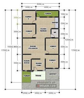 denah rumah 4 kamar 1 lantai - desain rumah minimalis