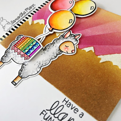 Have a Llama Fun on your Birthday Card by Samantha Mann for Newton's Nook Designs, Birthday, Cards, Birthday Card, Stencil, Distress Inks, Ink Blending, Llama, #newtonsnook #distressinks #bithdaycards #birthday #stencil