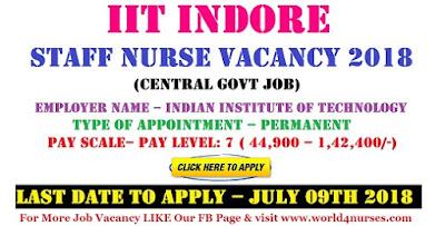 IIT Indore Staff Nurse Vacancy 2018 (Central Govt Job)
