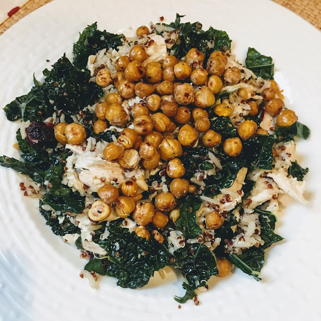 This earthy warm salad with kale, quinoa, chicken, chickpeas, cranberries and pine nuts is perfect for a cool day.
