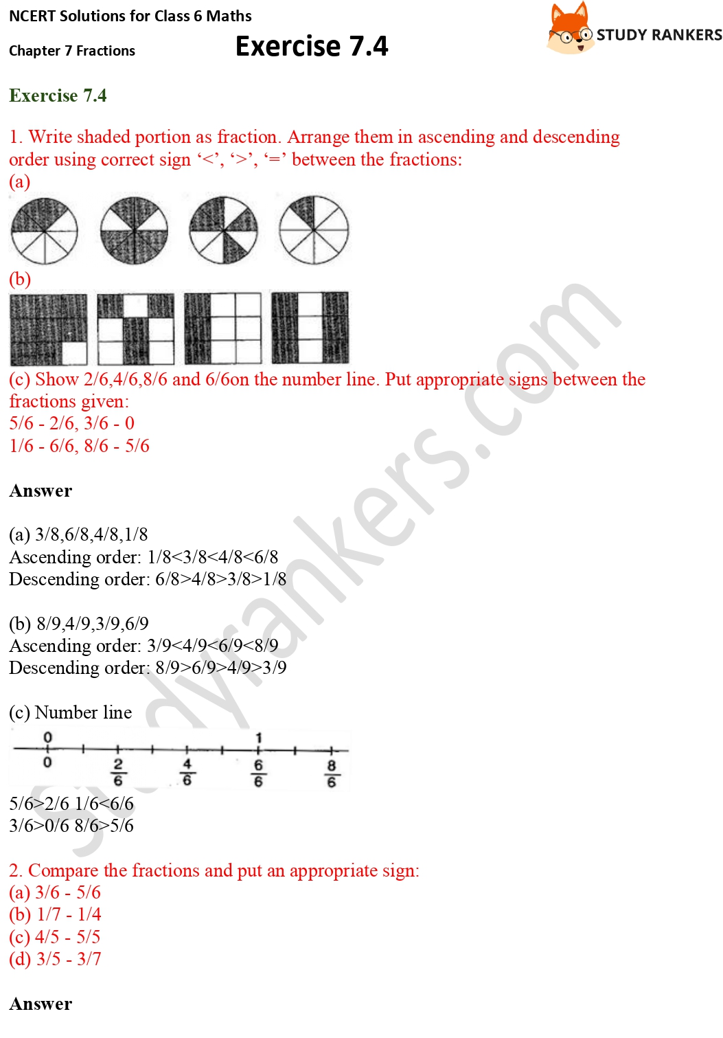 NCERT Solutions for Class 6 Maths Chapter 7 Fractions Exercise 7.4 Part 1