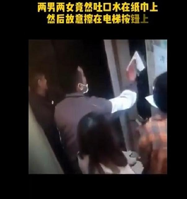 Hebooh Rekaman CCTV Diduga Penderita Virus Corona Sengaja Meludahi Lift