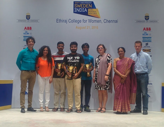 IIT Madras won the Chennai qualifying round of The Sweden India Nobel Memorial Quiz 2016 held at the Ethiraj College for Women, today
