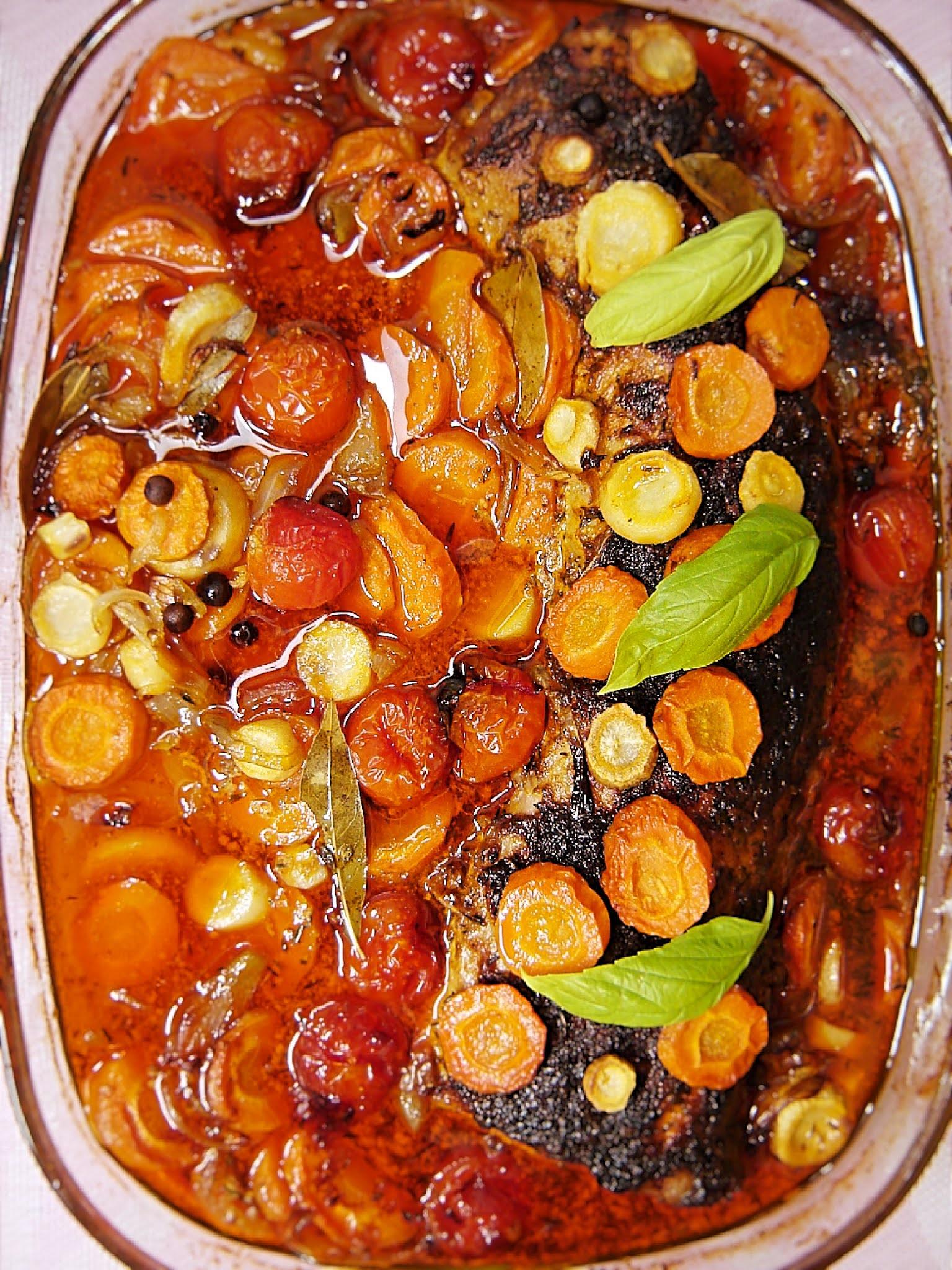 Schab pieczony z warzywami