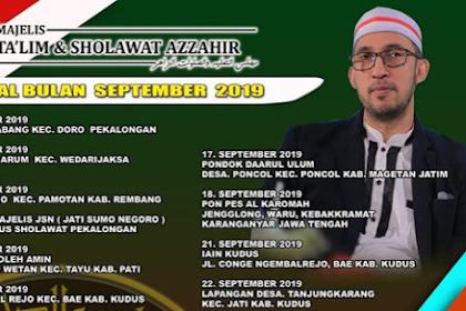 Jadwal Az Zahir Pekalongan September  2019