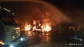 IMG 20191006 WA0007 - Jacobina: Incêndio atinge garagem da Empresa São Luiz e vários ônibus são destruídos