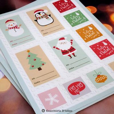 natal etiqueta presente adesivo selo