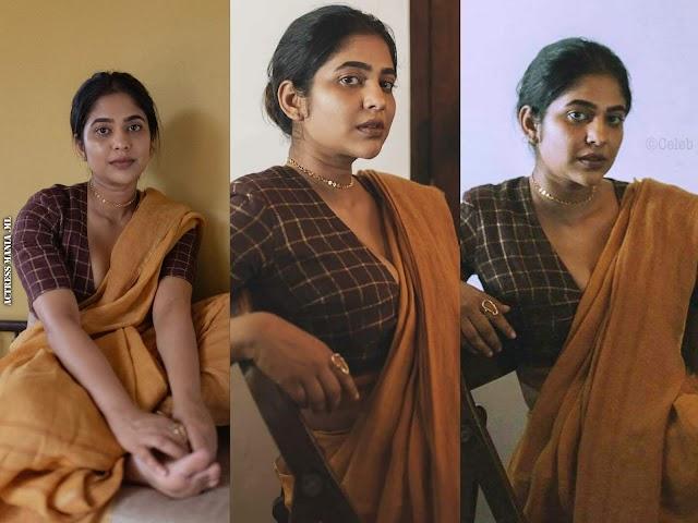 Srinda Arhaan Hot Cleavage Show Photos in Saree