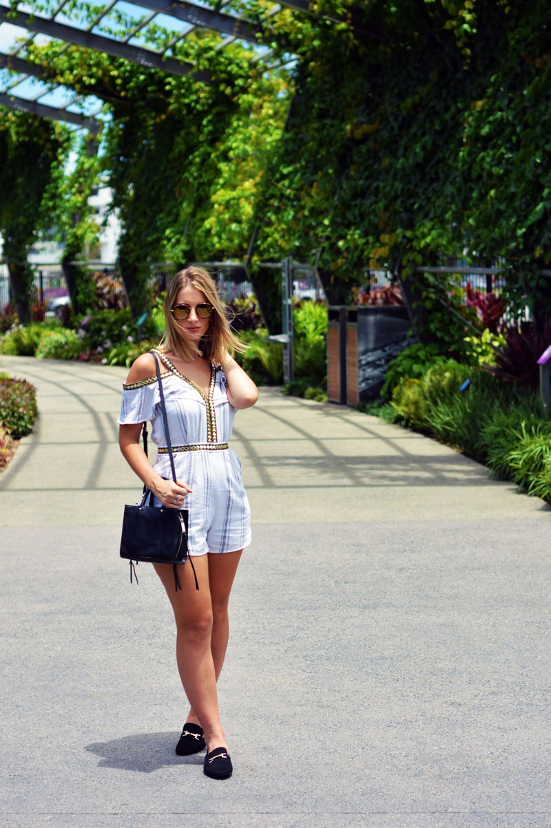 rebecca minkoff mini bag gucci lookalike mules and off shoulder playsuit outfit