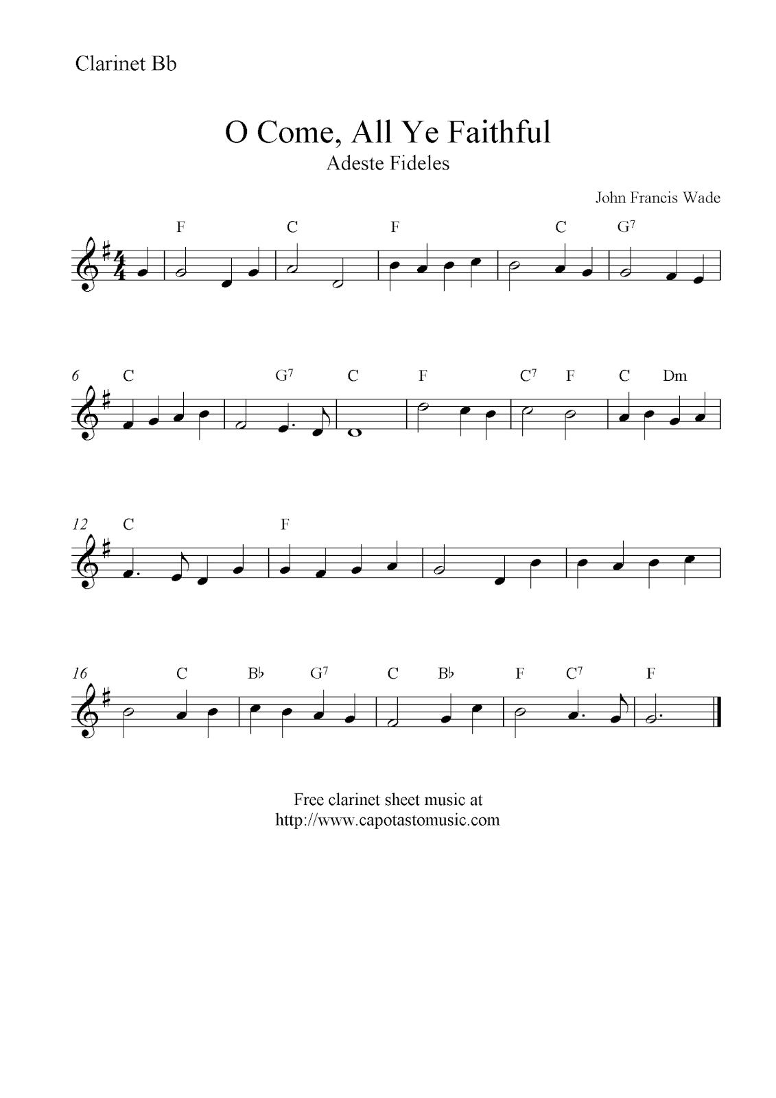 O Come All Ye Faithful Free Christmas Clarinet Sheet Music Notes