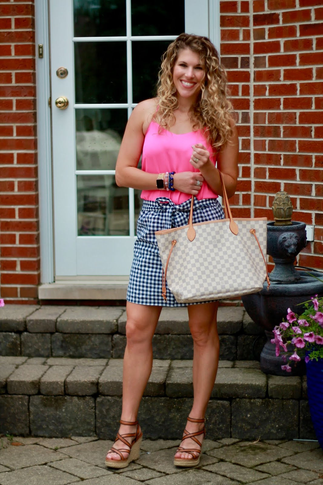 bright pink camisole, gingham skirt, summer date night outfit, cute summer outfit, summer gingham, azure LV neverfull