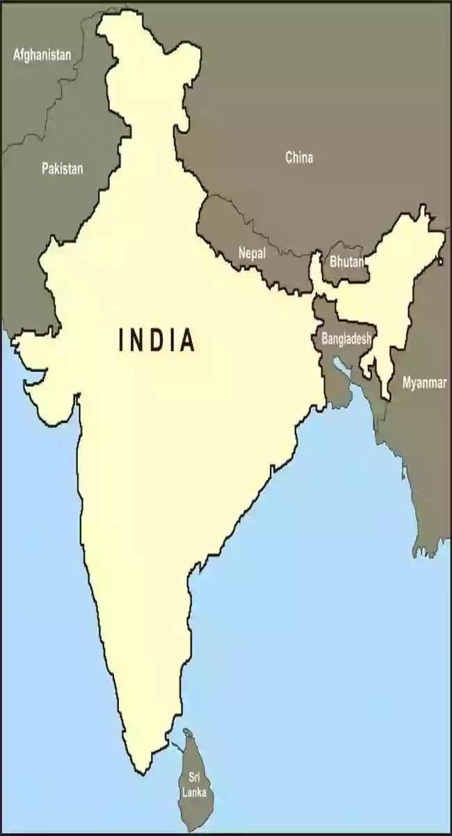 India Neighbouring Country Map
