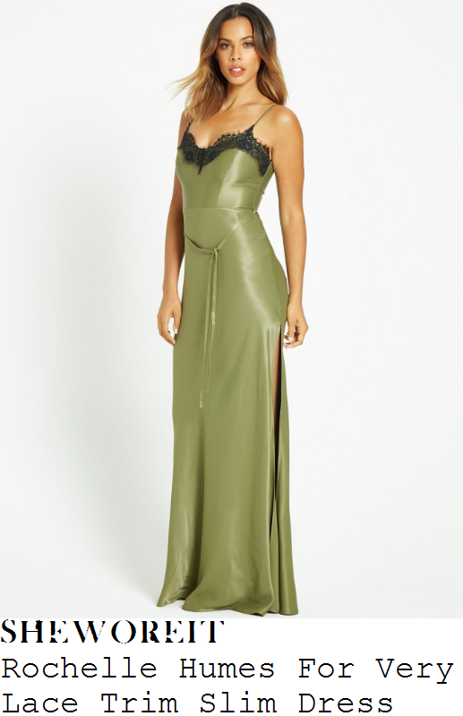 rochelle-humes-rochelle-humes-for-very-khaki-green-and-black-lace-trim-detail-sleeveless-satin-slip-maxi-dress