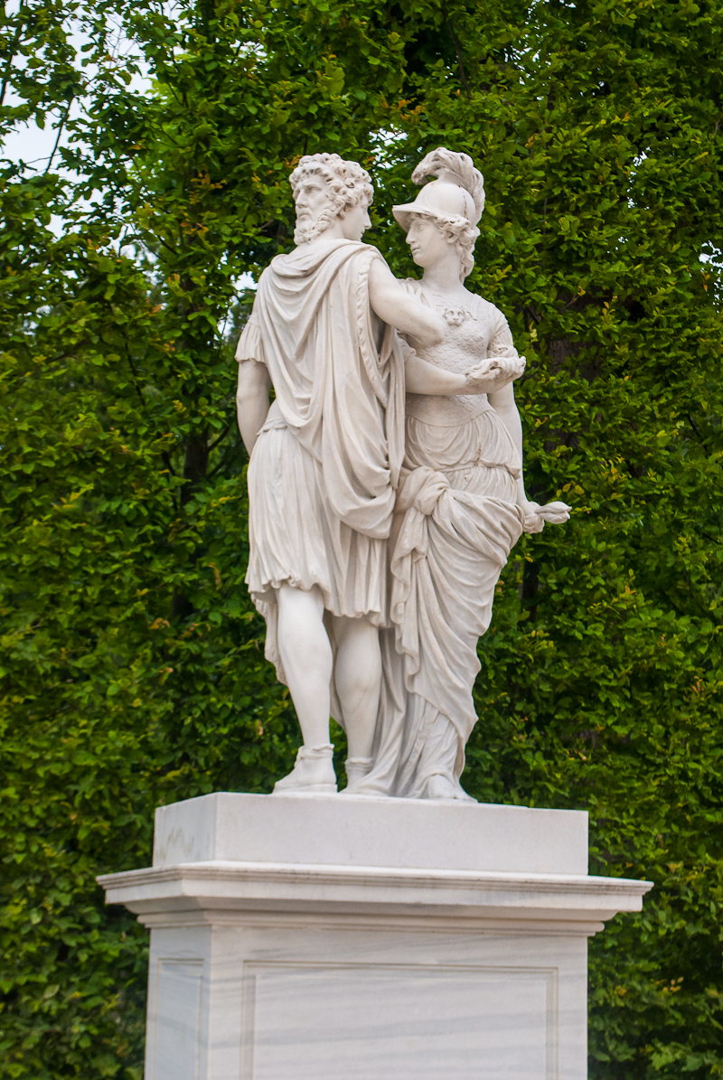 2 faced statue in the garden around Schönbrunn Palace in Vienna, Austria