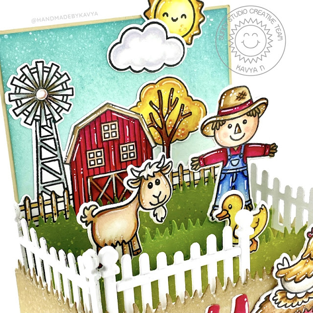 Sunny Studio Stamps: Scalloped Fence Dies Picket Fence Dies Farm Fresh Interactive Card by Kavya
