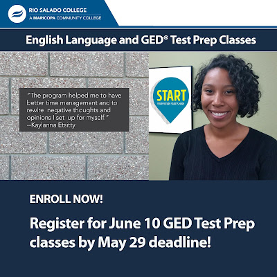 "Poster featuring a woman smiling at camera.  Quote: """"The program helped me to have better time management and to rewire negative thoughts and opinions I set up for myself,"" - Kaylanna Etsitty.  Text: English Language and GED Test Prep Classes.  Enroll Now.  Register for June 10 GED Test Prep classes by May 29 deadline!"
