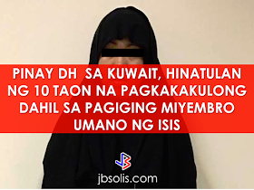 Kuwait court  sentenced a Filipino woman to 10 years in jail on Monday, after convicting her of joining the Islamic State jihadist group and plotting attacks. She was arrested in August  two months after arriving in Kuwait to work as a domestic helper. The ruling, which is not final, also calls for deportation of  the 32-year old Livani Azvilo Pescaeda after her jail term is served.   According to the Ministry of Interior of the state of Kuwait, the woman had confessed that she is a member of the Islamic  state group and her involvement in plotting terrorist attack in the area. During the interrogation, she said that her husband is an active Daesh (ISIS) fighter in Libya. Her Somali husband asked her to come to Kuwait from the Philippines as a domestic helper. She awaits for the explosive devices to conduct a suicide bombing attack in Kuwait. She said , her husband told her that she would go to heaven if the suicide bombing will be carried out successfully.  This allegedly ISIS-affiliated group  has conducted a string of bombings as well as kidnappings for ransom terrorizing locals, foreign tourists and Christian missionaries in the Philippines.   Kuwait police  has arrested an Egyptian driver suspected of being a member of the IS, after he rammed a garbage truck into a pick-up carrying five Americans. It happened in October. Authorities in July said they had dismantled three IS cells plotting attacks, including a suicide bombing against a Shiite mosque and against an interior ministry target. An IS-linked suicide bomber killed 26 worshippers  when he blew himself up in a  Shiite Mosque in June of last year, considered to be one of the worst terror attack in the Gulf region.     ©2016 THOUGHTSKOTO