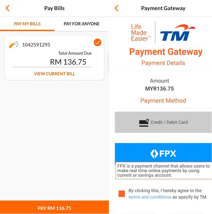 Cara bayar bil TM Unifi guna apps