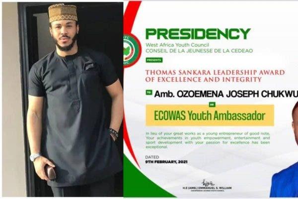 BBNaija's Ozo appointed as ECOWAS Youth Ambassador (Photos)