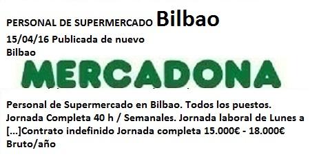 Lanzadera de Empleo Virtual Bilbao, Ofertas Mercadona