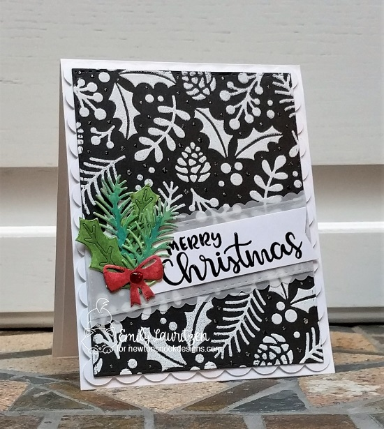 Merry Christmas by Emily features Holiday Foliage stencil, Pines and Holly dies, and Sentiments of the Season stamps by Newton's Nook Designs; #newtonsnook