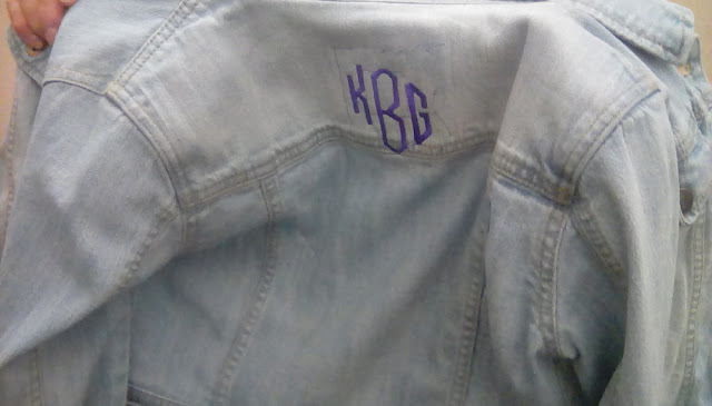 Embroidery initials to personalize jacket