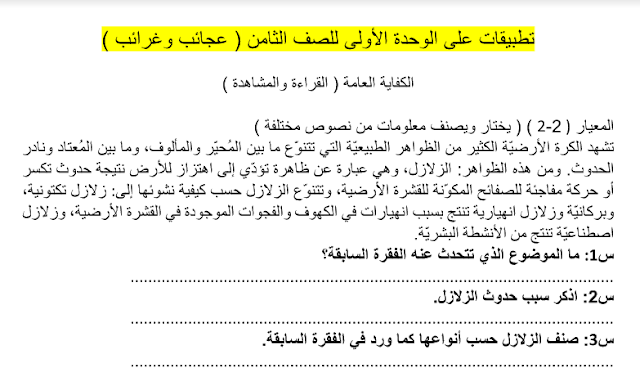 حل كتاب اللغة العربية الوحدة الأولي للصف الثامن
