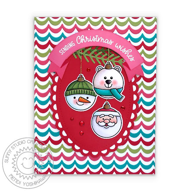 Sunny Studio Stamps Polar Bear, Snowman & Santa Claus Ornaments Christmas Card (using Deck The Halls & Banner Basics Stamps, Scalloped Oval Mat 3, Winter Greenery and Icing Border Dies)