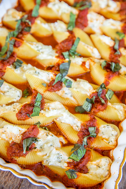 baked stuffed shells in baking dish